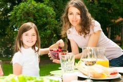 Grande famiglia che ha un picnic nel giardino immagini stock