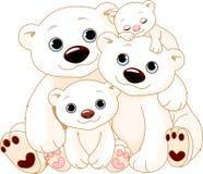 Grande famiglia dell'orso polare Fotografia Stock Libera da Diritti