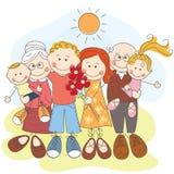 Grande famiglia felice insieme Fotografia Stock