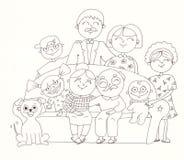 Grande famiglia Illustrazione lineare Immagine Stock Libera da Diritti
