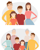 Grande famille avec des enfants, des parents et des grands-parents Portrait de famille d'isolement sur le fond blanc Vecteur illustration de vecteur