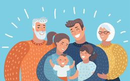 Grande famille avec des parents, enfants, grands-parents, illustration stock