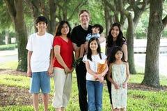 Grande famille de sept multiraciale Images libres de droits