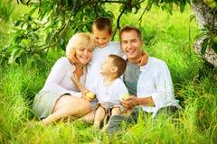 Grande famille dehors Photo libre de droits