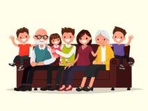 Grande famille s'asseyant sur le sofa Grand-père, grand-mère, père illustration stock