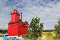 Grande faro rosso in Holland Michigan Fotografia Stock