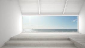 Grande fenêtre panoramique avec le fond d'océan de mer, scène d'été, fin de support illustration libre de droits
