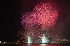 Grande festival del fuoco d'artificio in Gelendzhik Regione di Krasnodar La Russia 09/15/2017 Fotografia Stock