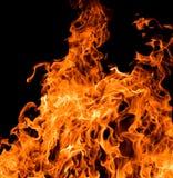 Grande fiamma arancione sul nero Immagini Stock