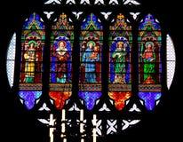 Grande finestra di vetro macchiato della basilica di St Anthony a Padova nel Veneto (Italia) Fotografia Stock