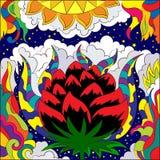 Grande fiore del giglio sui precedenti del cielo notturno Astrazione di scarabocchio illustrazione di stock