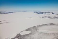 Grande fiume siberiano Yenisei nell'inverno Immagini Stock