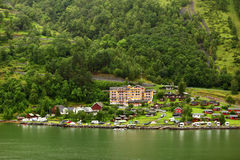Grande Fjord Hotel in small coastal village Stock Image