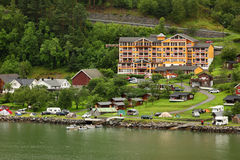 Grande Fjord Hotel in small coastal village Stock Photos