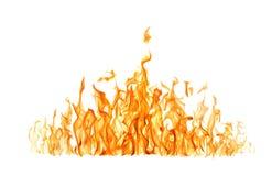 Grande flamme foncée jaune d'isolement sur le blanc Photos stock