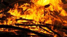 Grande fogo que queima-se na noite Movimento lento vídeos de arquivo