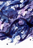 Grande fondo astratto dell'acquerello Macchie vive della spazzola, punti e punti a mano libera blu e porpora nella struttura soli Fotografie Stock Libere da Diritti