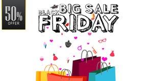 Grande fondo di bianco di progettazione di Black Friday di vendita eventi di festa di prezzi di offerta di 50%, insegna di Black  Immagini Stock