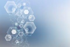Grande fondo di visualizzazione di dati Fondo astratto virtuale futuristico moderno Modello della rete di scienza, collegantesi illustrazione di stock