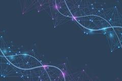 Grande fondo di visualizzazione di dati Fondo astratto virtuale futuristico moderno Modello della rete di scienza, collegantesi illustrazione vettoriale