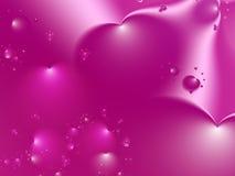 Grande fondo rosa di frattale del biglietto di S. Valentino dei cuori Immagine Stock Libera da Diritti