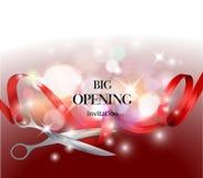 Grande fondo rosso di apertura con il nastro e le forbici rossi Immagini Stock