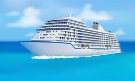 Grande forro do cruzeiro, oceano, céu azul no estilo liso ilustração stock