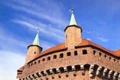 Grande fortificazione del barbacane a Cracovia, Polonia Immagine Stock