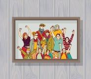 Grande foto a colori felice del gruppo della famiglia sulla parete Fotografia Stock Libera da Diritti