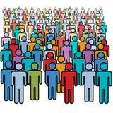 Grande foule de groupe social de beaucoup de gens de couleurs Image libre de droits