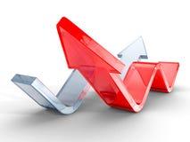 Grande freccia crescente di vetro rossa su fondo bianco Fotografie Stock Libere da Diritti