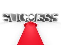 Grande freccia rossa che indica la parola di SUCCESSO Fotografie Stock Libere da Diritti