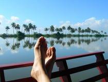 GRANDE FUGA: Equilibratura dell'orizzonte su un piede Fotografia Stock
