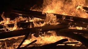 Grande fuoco di notte, bordi brucianti video d archivio