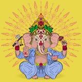 Grande Ganesha ornate Deus da sabedoria e da prosperidade Imagens de Stock Royalty Free