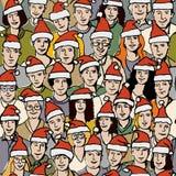 Grande gente del gruppo nel reticolo senza giunte dei cappelli della Santa Immagini Stock