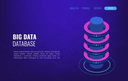 Grande gestion de l'information de distribution de stockage d'accès de concept de données Pièce isométrique de serveur de vecteur illustration libre de droits