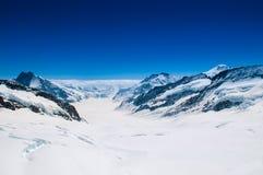Grande ghiacciaio di Aletsch, Jungfrau, montagna svizzera Landsc della neve delle alpi Fotografia Stock
