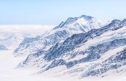 Grande ghiacciaio di Aletsch, Jungfrau, montagna svizzera Landsc della neve delle alpi Immagini Stock Libere da Diritti