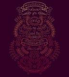 Grande grafico di nozze messo con alloro, le corone, le frecce, i nastri, i cuori, i fiori e le etichette nel vettore Immagini Stock
