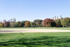 Grande gramado situado no coração do Central Park durante a queda Foto de Stock