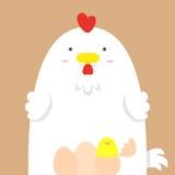 Grande grosse poule blanche mignonne Illustration de Vecteur