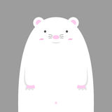Grande grosse souris blanche mignonne Illustration Stock