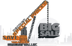 Grande grue des textes de la vente 3D Images stock