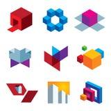 Grande grupo colorido humano do ícone da faculdade criadora da imaginação e do cubo da caixa ilustração royalty free
