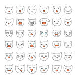 Grande grupo das emoções 36 partes Sorriso do gato Gatos de Emoji ilustração do vetor
