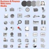 Grande grupo de ícones da Web. Negócio, meios da finança, Imagens de Stock