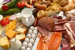 Grande grupo de alimentos Fotos de Stock Royalty Free