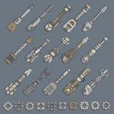 Grande grupo de armas e de engrenagens Imagens de Stock