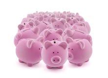 Grande grupo de bancos piggy Fotos de Stock Royalty Free